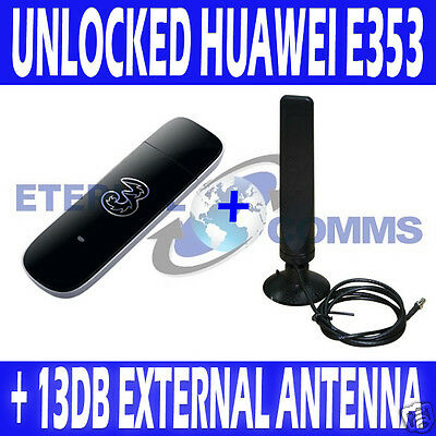 UNLOCKED HUAWEI E353 21.6MBPS USB MOBILE BROADBAND MODEM + TS9 EXTERNAL ANTENNA