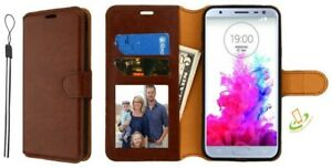 BROWN-Leather-Flip-Wallet-Phone-Case-Protective-Cover-Stand-Strap-For-LG-Stylo-4
