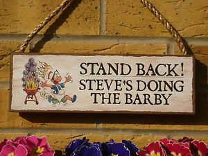 PERSONALISED BBQ SIGN BARBECUE SIGN OWN WORDING PLAQUE FUNNY GIFTS FOR MEN BARBY