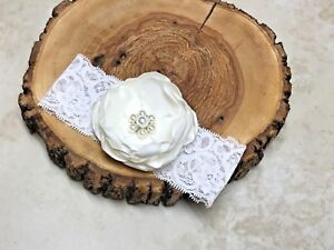 HEADBAND-NEWBORN-CHRISTENING-ANTIQUE-WHITE-BURNT-EDGE-FLOWER-3-1-2-034-PEARLS-GIFT