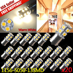 20x Warm White 1156 RV Camper Trailer 13SMD 1141 1003 LED Interior Light Bulbs