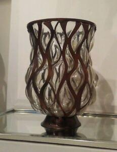 Pier 1 Pillar Candle Holder Bronze/Copper Modern Design | eBay