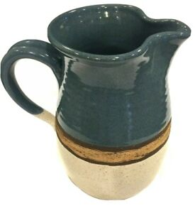 Vintage-Salt-Glaze-Pitcher-Pottery-Blue-Beige-and-Brown-8-8-034-Tall-Signed