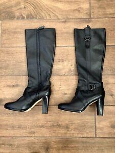 Cole Haan Black Leather Buckle Air Knee