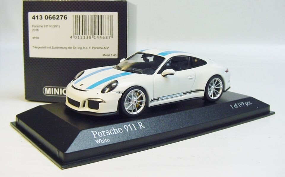 1 43 MINICHAMPS 2016 PORSCHE 911R 991 II  ALMOST REAL  White bluee LE 199 pcs.