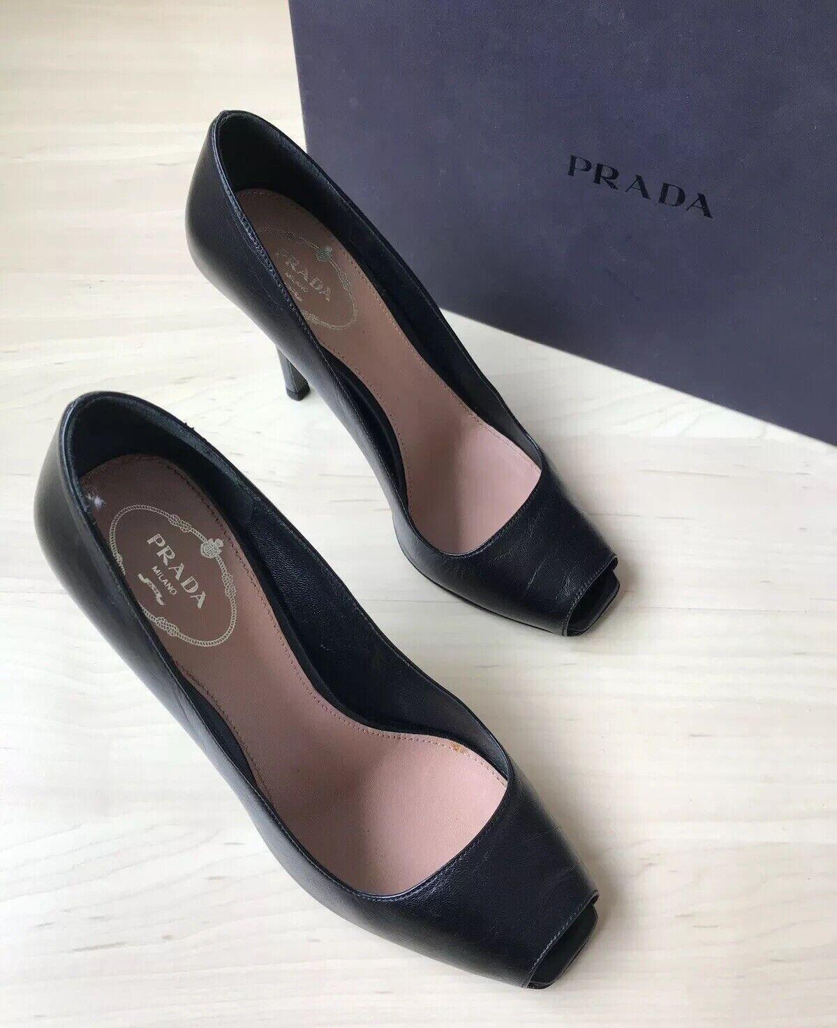 Prada Haiyou Stylish Black Leather Peep-Toe Pumps   (Size  5)