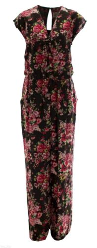 Brand New 16-24 V Neck Playsuit Light Jumpsuit Floral Trouser Dress Womens