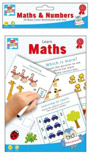 Essuyer Nettoyer maths livre pratique école mot Apprendre Chiffres Marqueur Stylo aide Kid