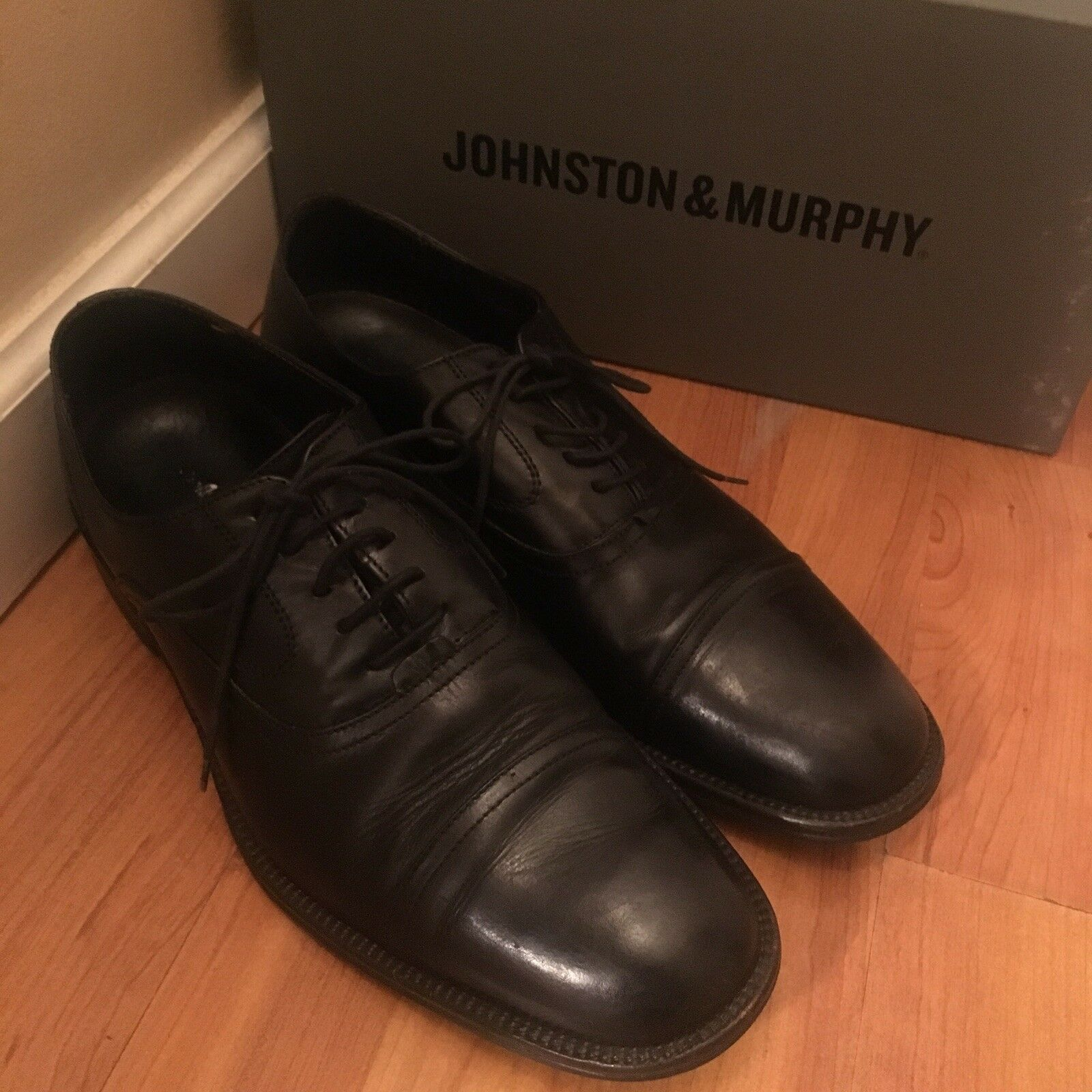 Johnston & Murphy Mens Oxford Barlow Cap Toe shoes Size 10 Black Leather