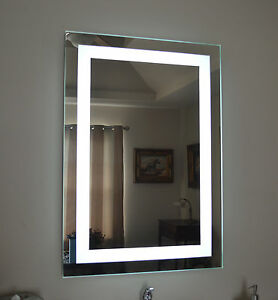 """Front-Lighted LED Bathroom Vanity Mirror: 28"""" x 36"""" - Rectangular - Wall-Mounted"""