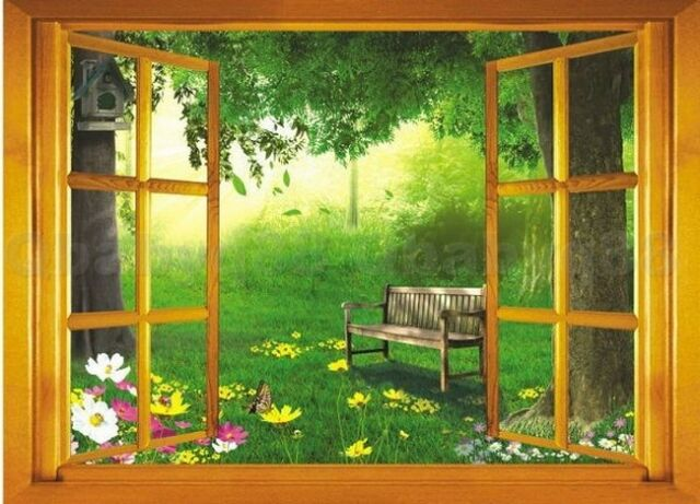 Window View 3D Backyard Garden Wall Art Stickers Removable Decal Home Decor kids