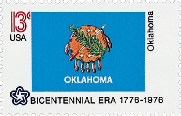 1976 13c Oklahoma State Flag, Bicentennial Era Scott 16