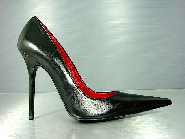 CQ COUTURE ITALY HIGH HEELS POINTY PUMPS SCHUHE DECOLTE LEATHER BLACK black 41