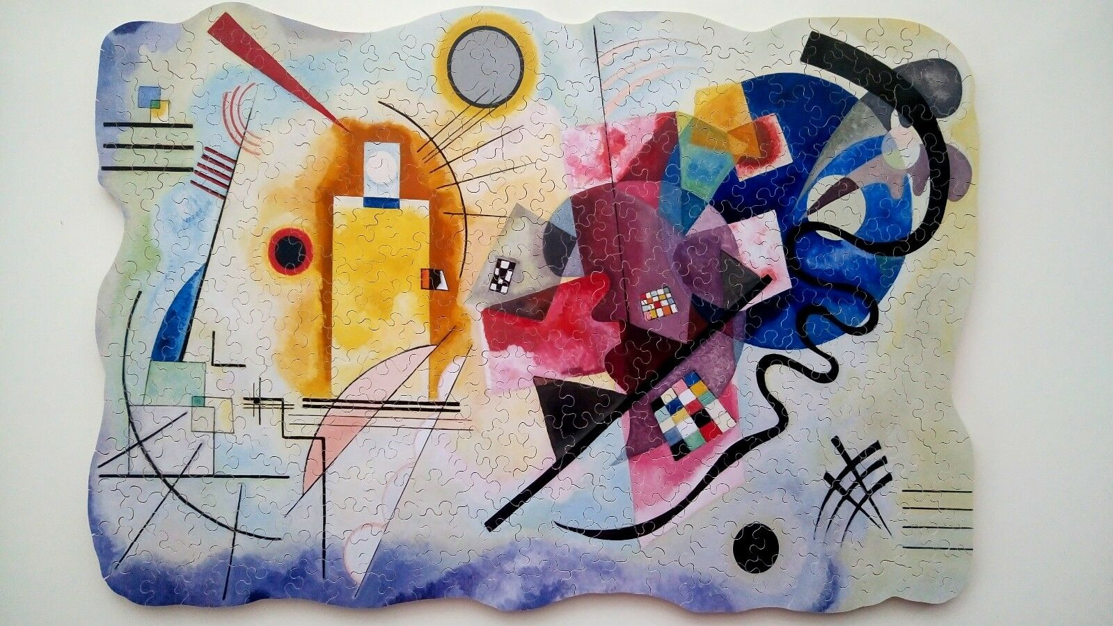 Nuovo Hand Cut Wooden Jigsaw Puzzle giallo rosso blu by Wassily Kandinsky in Wooden