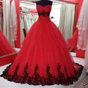 3c64c50a3e Gothic Ball Gown Wedding Dresses Black and Red Tulle Bridal Gowns ...