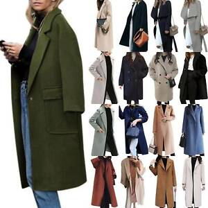 Women-Winter-Overcoat-Woolen-Trench-Coat-Lapel-Long-Jacket-Winer-Warm-Outdoor