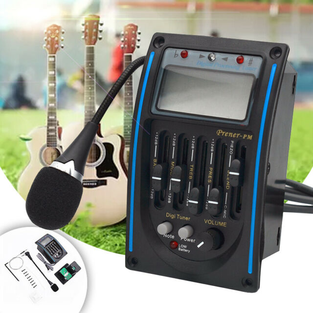 5Band Acoustic Guitar Preamp EQ Equalizer Piezo Pickup Tuner w// C-MIC