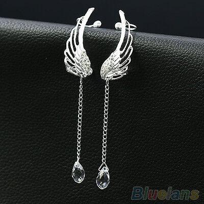 Angel Wing Silver Plated Crystal Chain Drop Dangle Ear Cuff Stud Clip Earrings