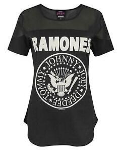 Amplified-Ramones-Seal-Logo-Women-039-s-Sheer-Panel-T-Shirt