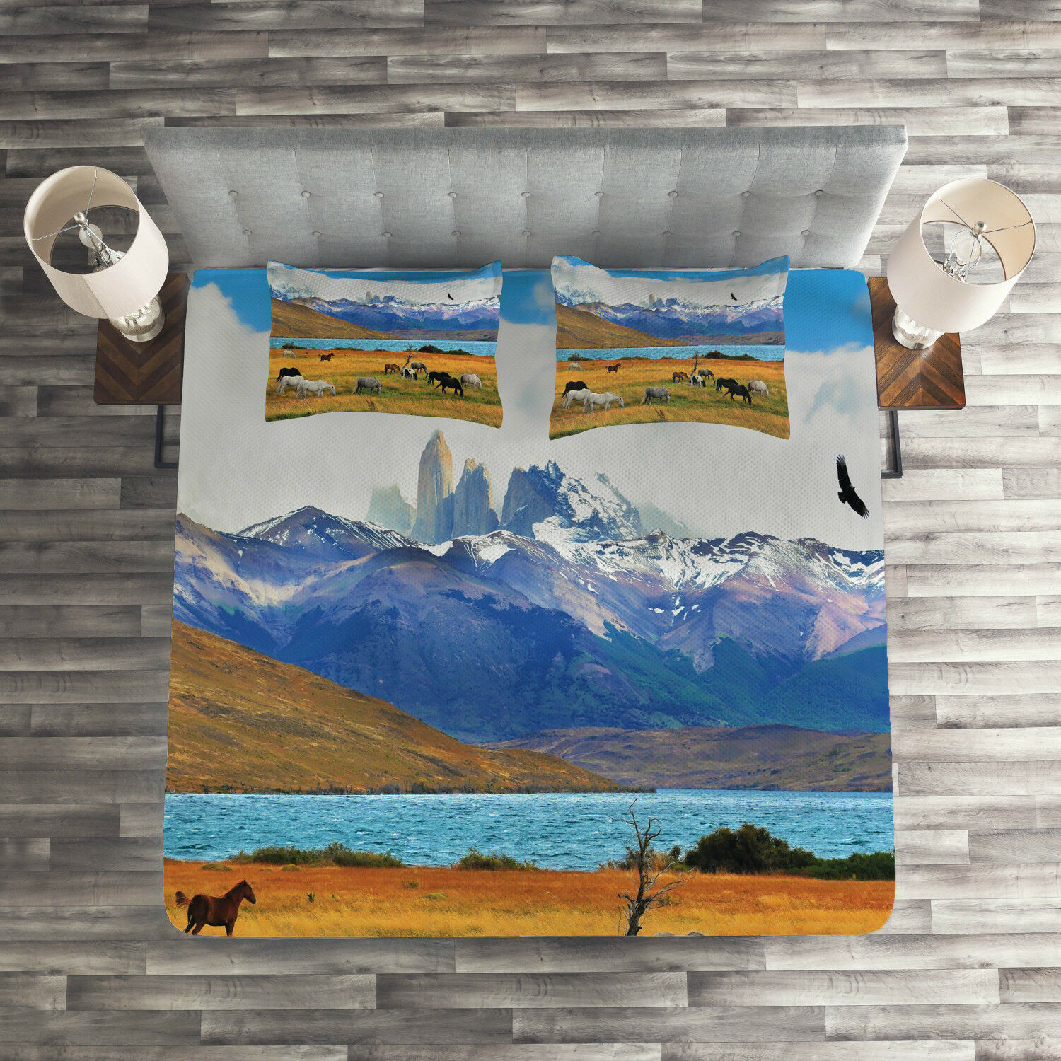Scenery Quilted Coverlet & Pillow Shams Set, Farm Horse in Mountain Print