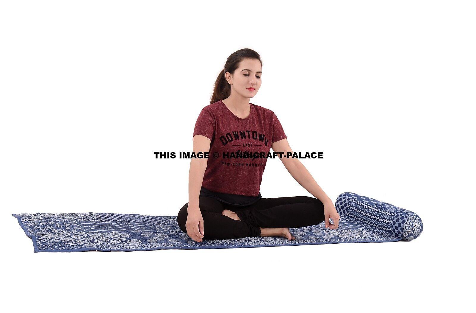 Tappetino YOGA cotone indiano originale Blocco A Mano Stile di stampa Tappetino Yoga Trapuntato Copriletto