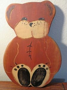 "Wolf Creek Folk Art / Primitive Wooden 10"" Teddy Bear Wall Art - Artist Signed"