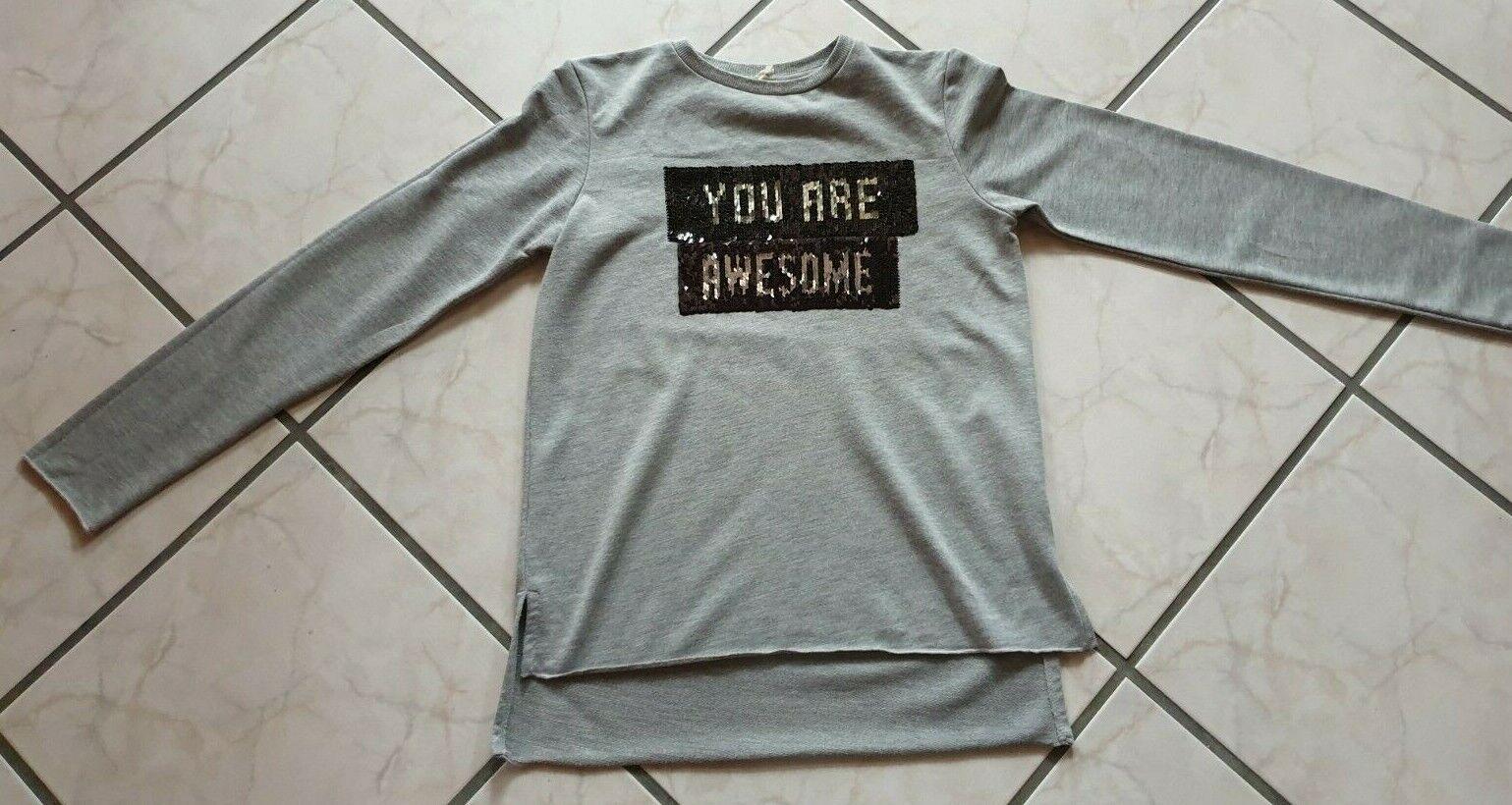 Langarmshirt, Sweatshirt, grau, Wendepailletten, Gr 152/158, Primark, sehr gut