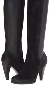NIB-Frye-Mikaela-Stretch-Tall-Suede-and-Leather-Boots-7-in-Black-MSRP-498