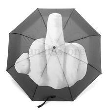 Large Middle Finger Umbrella Black 3 Folding Parasols Rain Foldable Umbrella