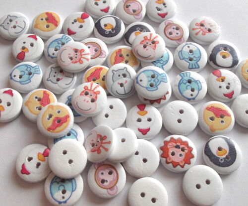 SCRAPBOOKING 50 x CARTOON SERIES 2 HOLE WOODEN 15mm BUTTONS CRAFT ETC.,