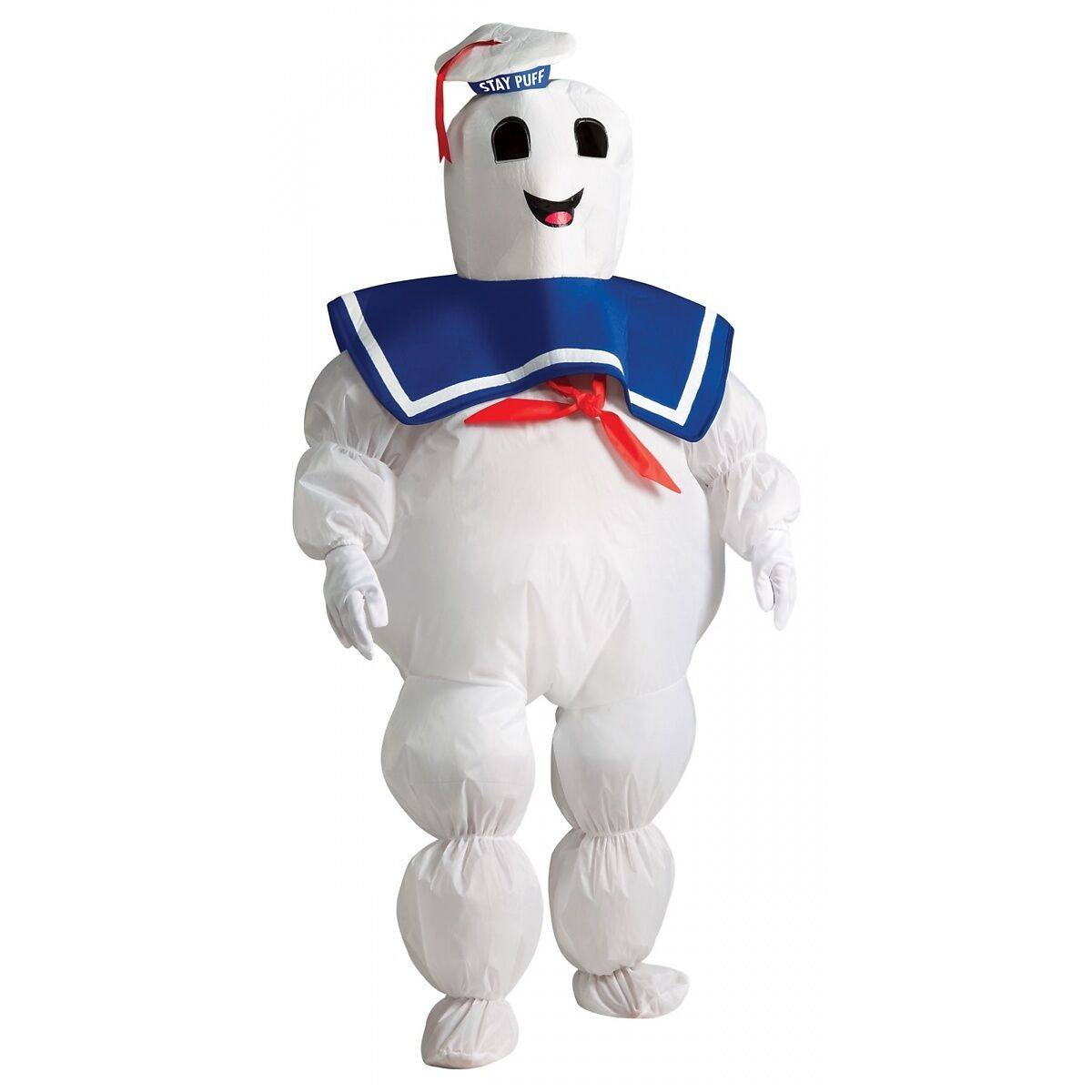 Ghostbusters Stay Puft Marshmallow Man Inflatable Costume Halloween For Kids/Adults (Headpiece, Gloves, Inflatable Jumpsuit with Battery-Operated Fan)