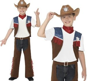 Childrens Boys Book Day Fancy Dress Texan Cowboy Costume & Hat New by Smiffys