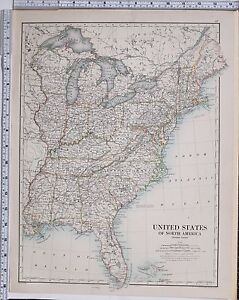 1889 Large Antique Map United States North America Eastern Florida