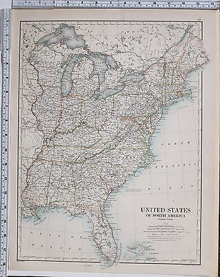 1889 LARGE ANTIQUE MAP ~ UNITED STATES NORTH AMERICA EASTERN FLORIDA NEW  YORK   eBay