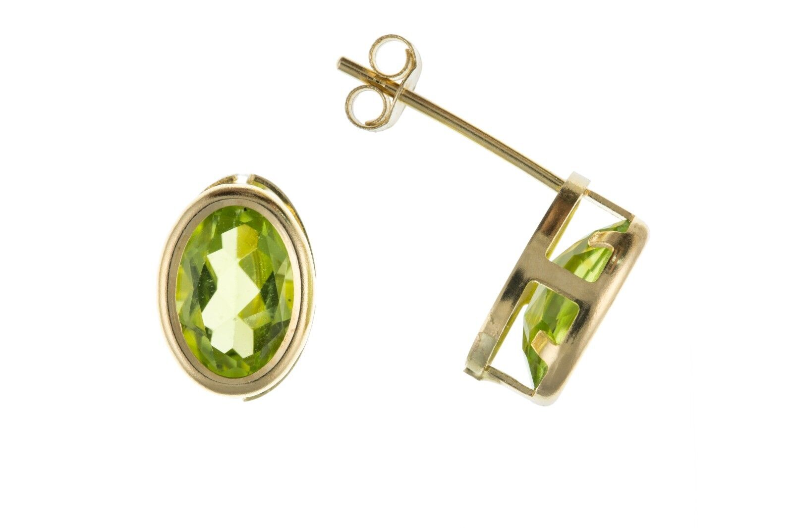 Peridot Oval Stud Earrings Yellow gold Solid 9 Carat Stud Smooth Rub Over Set