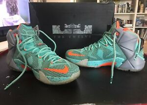 watch b916a 0df06 Image is loading NIKE-LEBRON-XII-684593-301-TURQUOISE-GRAY-ORANGE-