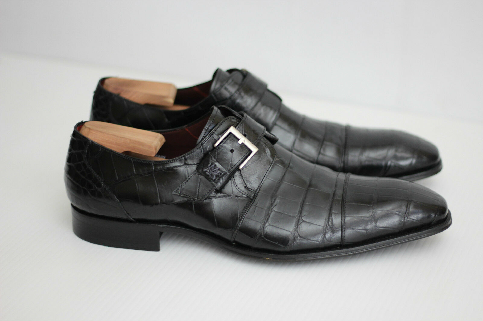 Mezlan 'Berlin' Genuine Alligator Monk Strap scarpe - nero - 12 M - 79699 (S90)