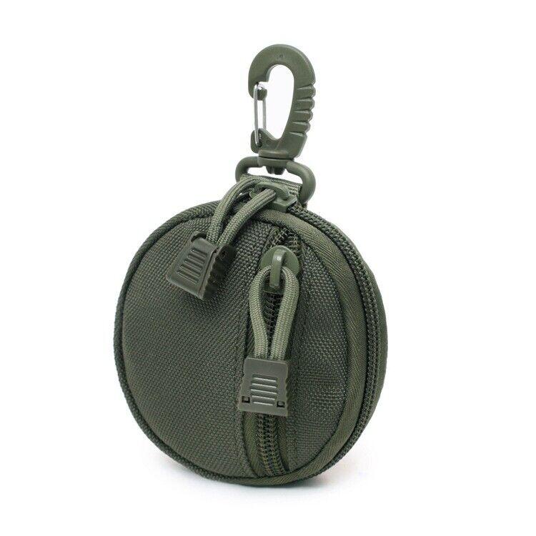 1x Army Green Waterproof Mini Nylon Key Holder Round Shape Hooks Belt Cash Pouch
