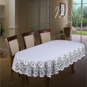 Image Is Loading Oval Lace Tablecloth White Large Or Medium Premium