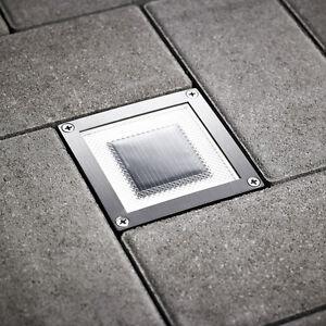 LED Solar Bodenlampe Solarlampe Edelstahl Bodeneinbau Strahler quadrat SEL05
