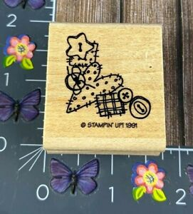 Stampin' Up! Country Stitch Corner Rubber Stamp Heart Buttons Wood Mount #B117