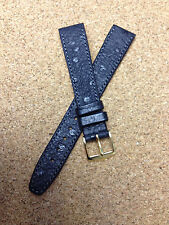 16mm BLACK STRAP  VINTAGE HIRSCH  GENUINE OSTRICH GRAIN  HIGH QUALITY WATCH BAND