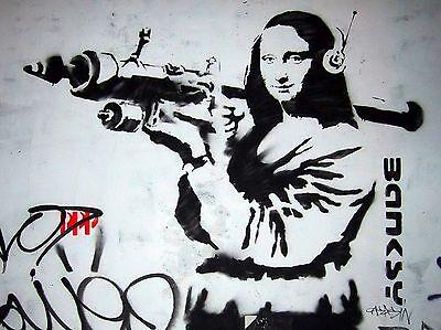 "Mona Lisa with Bazooka by Banksy, Graffiti Art, 12""x16"", Canvas Print"