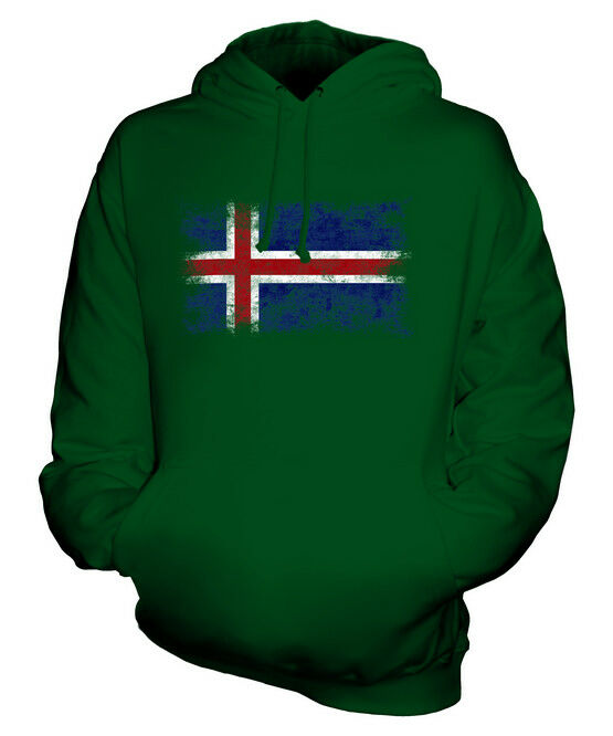 ICELAND DISTRESSED FLAG UNISEX HOODIE TOP ISLAND FOOTBALL ICELANDIC GIFT