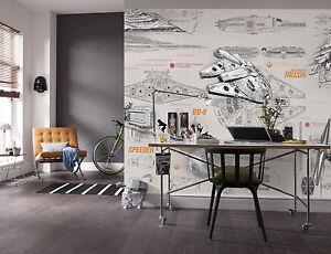 De Papel Gigantes Wallpaper 368x254cm Star Wars Nave Adolescentes Dormitorio Mural De Pared Ebay