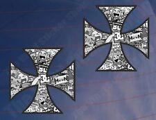 2x IRON CROSS STICKER BOMB Black & White Car/Van/Window/Bumper Printed Stickers
