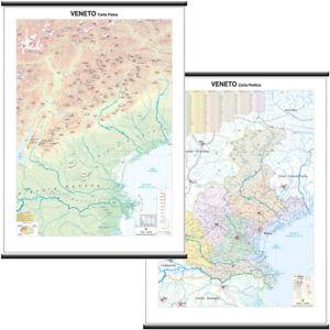 Veneto Regione Cartina.Veneto Cartina Scolastica Regionale Murale Bi Facciale 97x134 Cm Mappa Ebay
