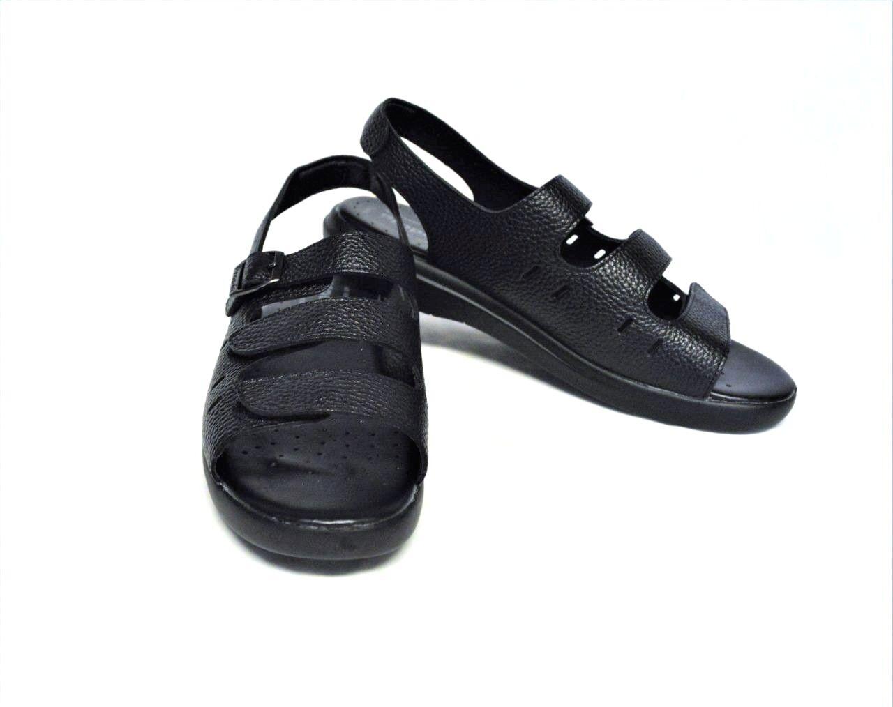 Neuf Propet femmes 7M 37.5 Breeze Walker Sandales Cuir noir Réglable Sangles