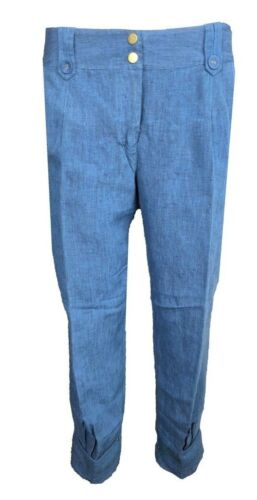 Principles Ladies Linen Cropped Trousers in Blue Size 6-18 X3.10