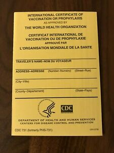 Details about OFFICIAL International Certificate of Vaccination, CDC-731,  Yellow Card, NEW